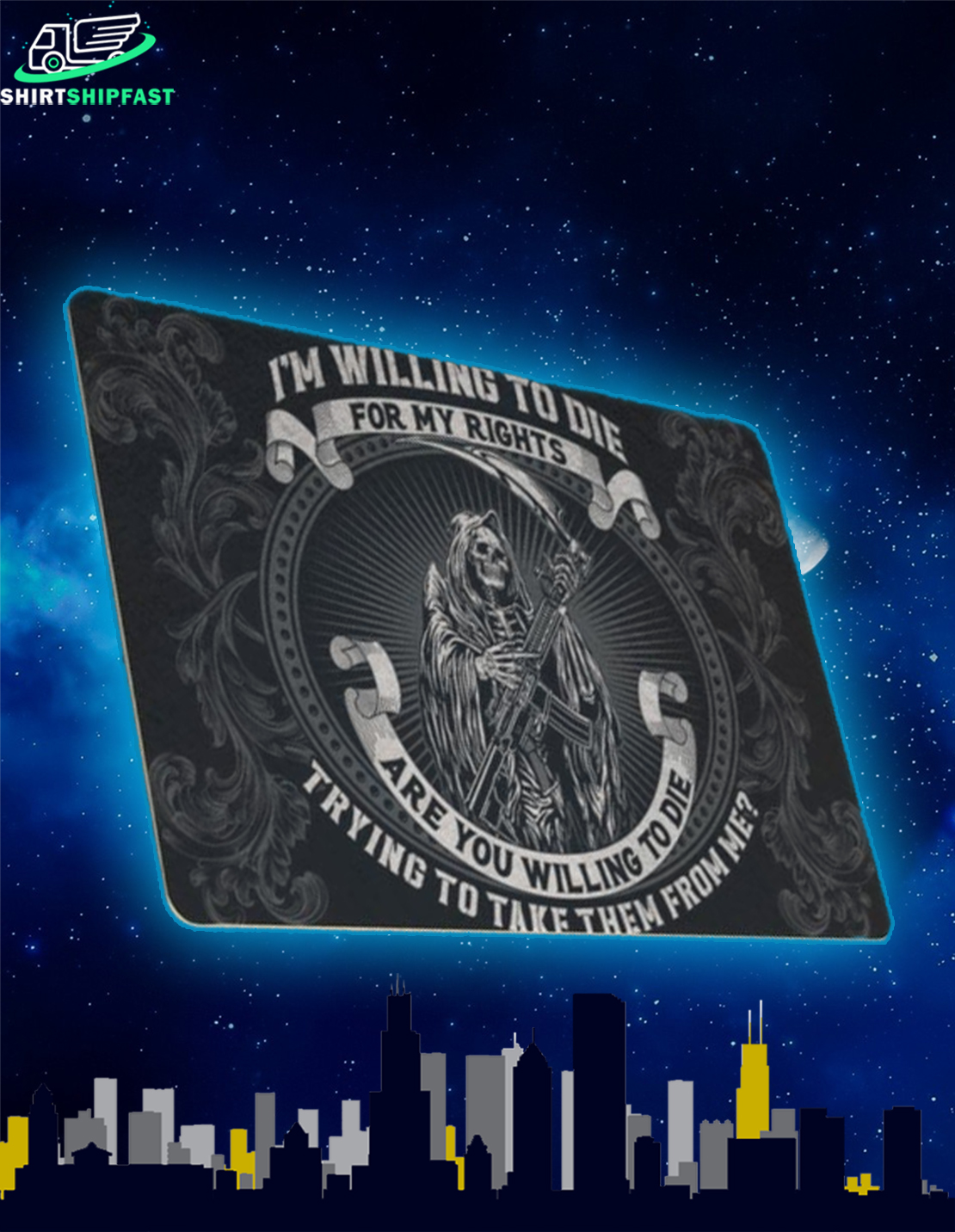Grim Reaper Death I'm willing to die for my rights doormat - Picture 2