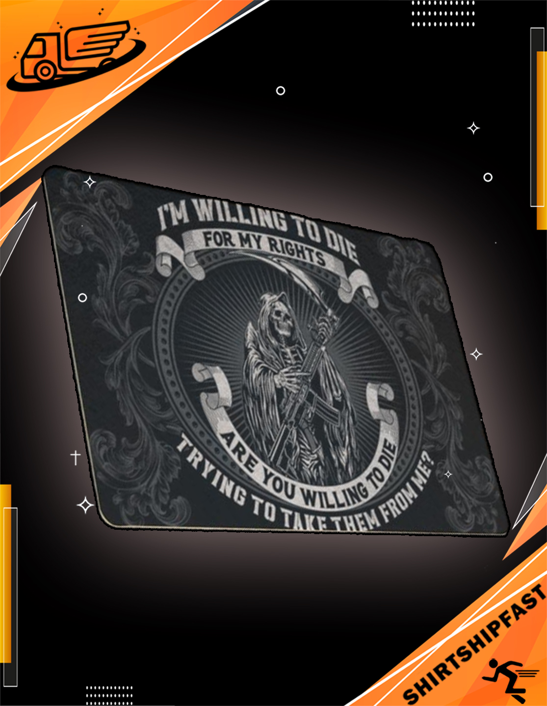 Grim Reaper Death I'm willing to die for my rights doormat - Picture 3