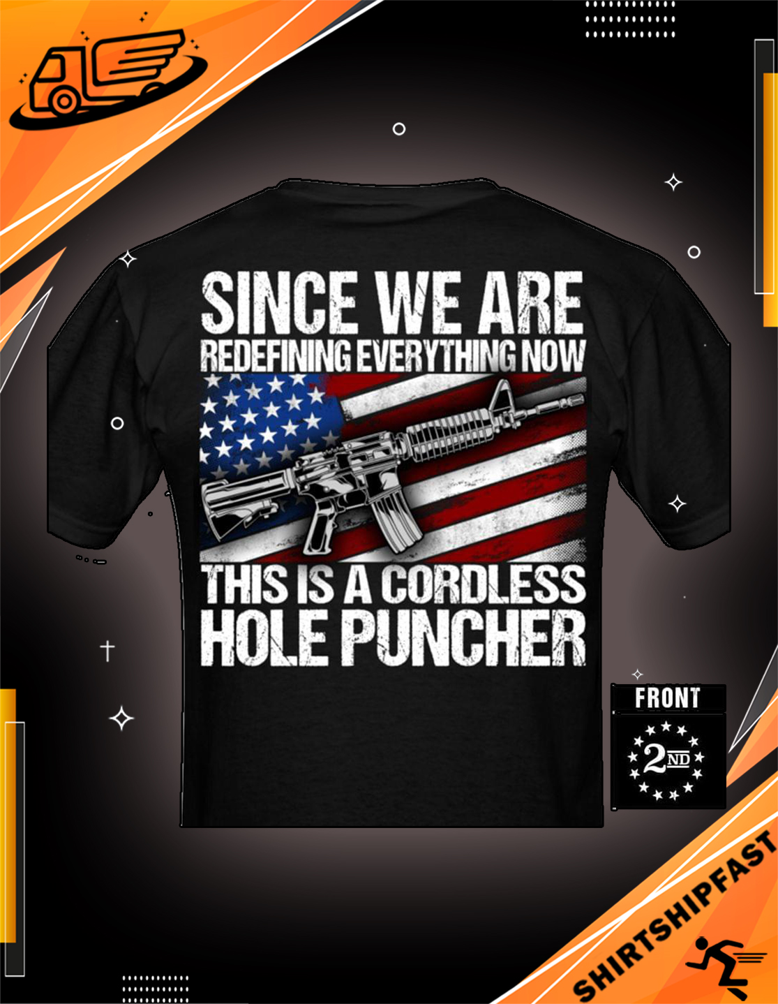 Gun american flag Since we are redefining everything now this is a cordless hole puncher shirt - Picture 2