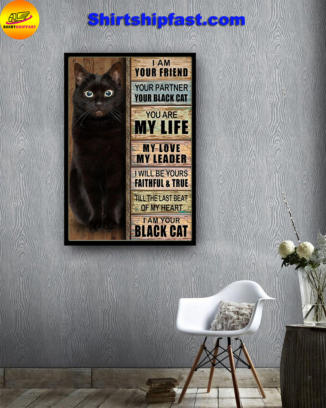 I am your friend your partner your black cat poster - Picture 3