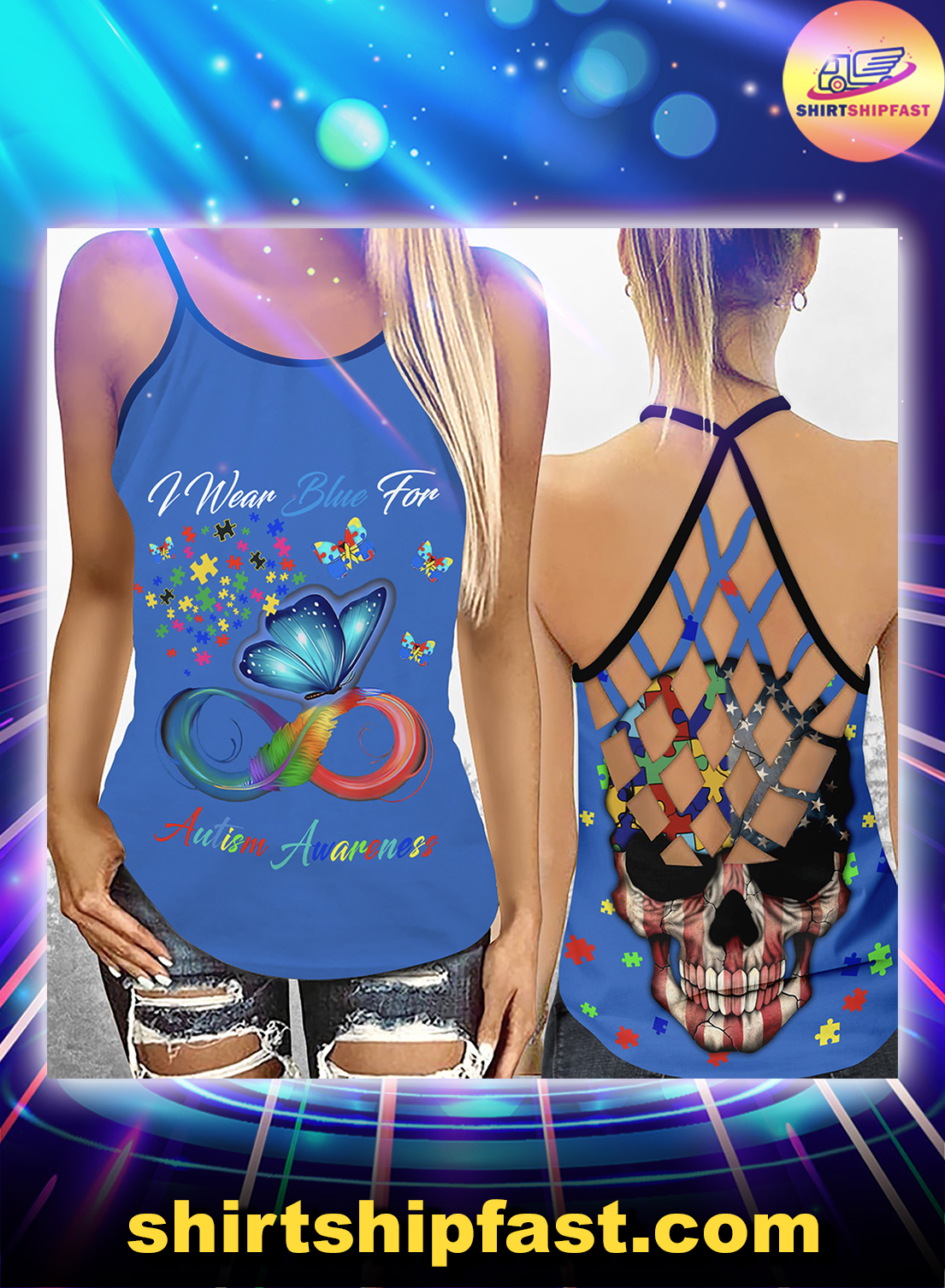 I wear blue for autism awareness criss-cross open back camisole tank top