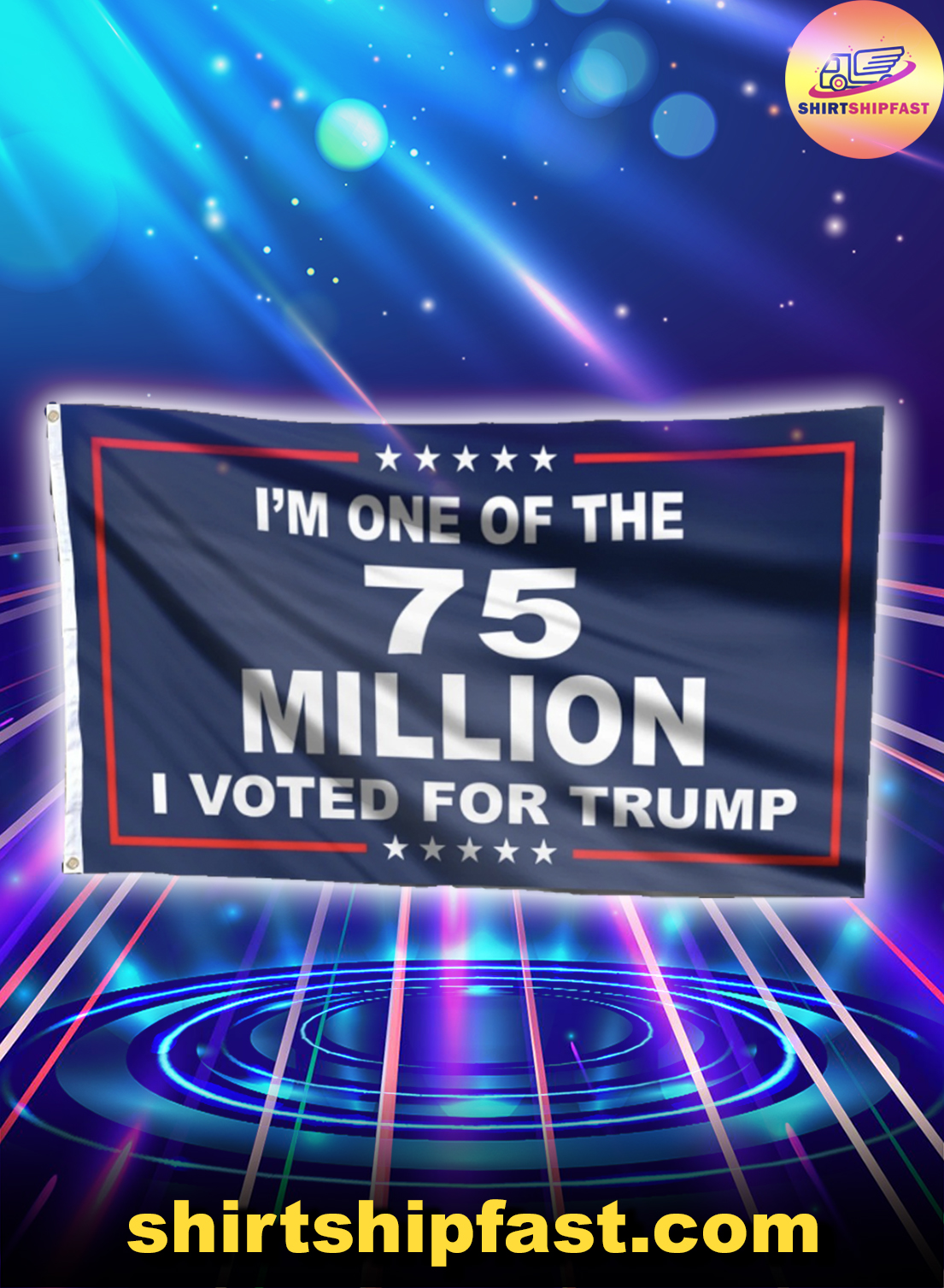 I'm one of the 75 million I voted for Trump flag - Picture 1