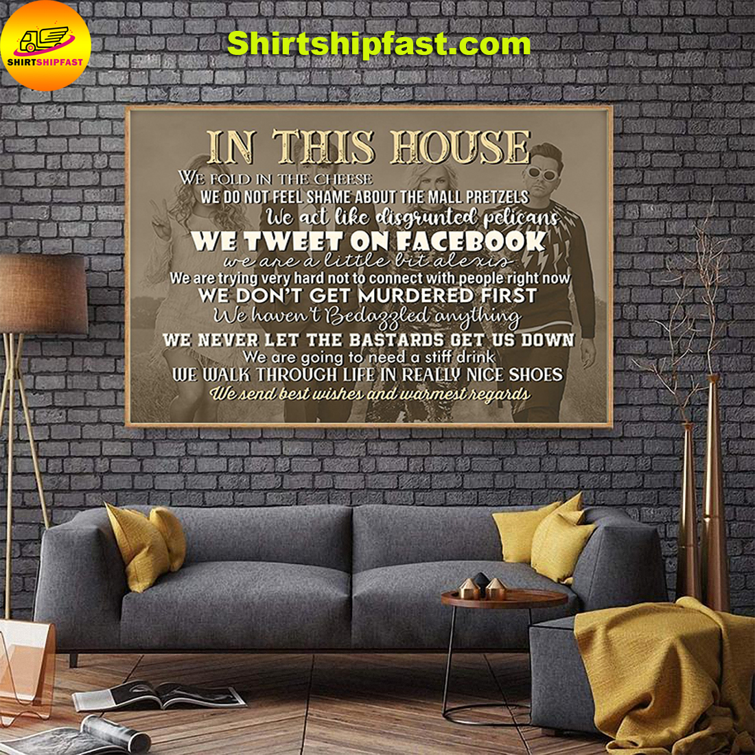 In this house we send best wishes and warmest regards poster - Picture 1