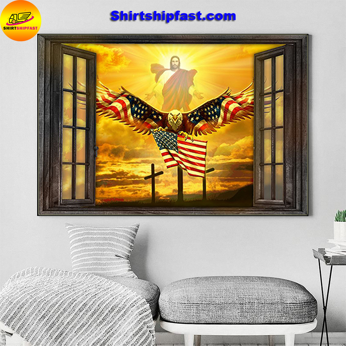 Jesus Eagle in the sky have faith poster - Picture 1