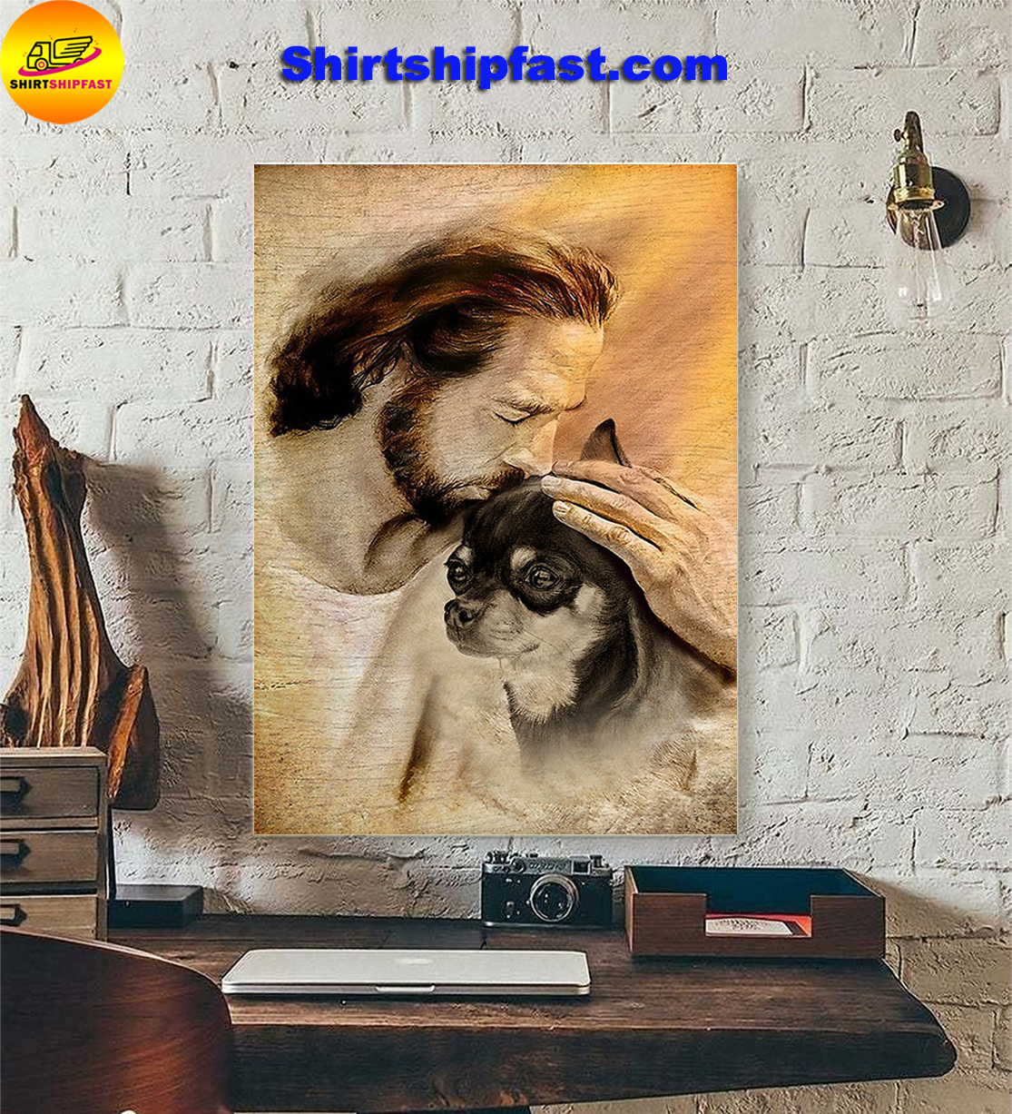 Jesus hug lovely Chihuahua poster - Picture 3