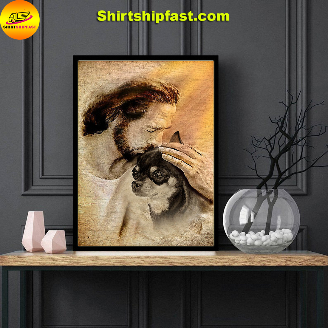 Jesus with lovely Chihuahua for Chihuahua lover poster - Picture 3