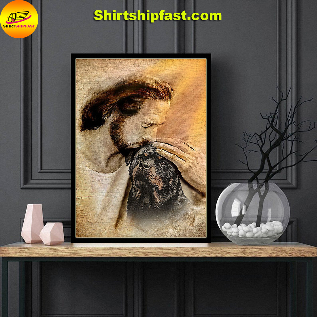 Jesus with lovely Rottweiler for Rottweiler lover poster - Picture 1