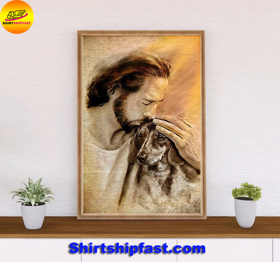Jesus with lovely dachshund for dachshund lover poster - Picture 2