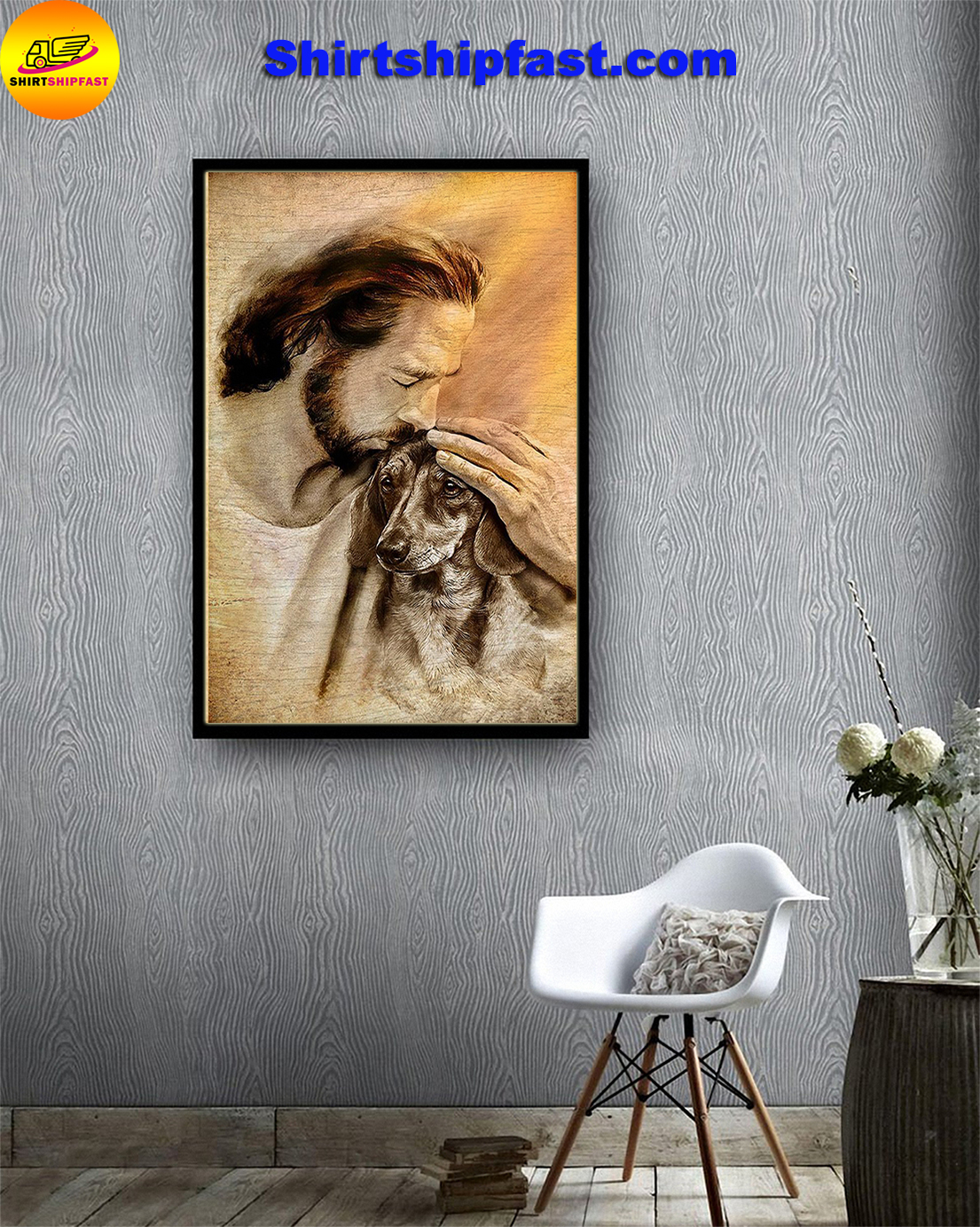 Jesus with lovely dachshund poster - Picture 1