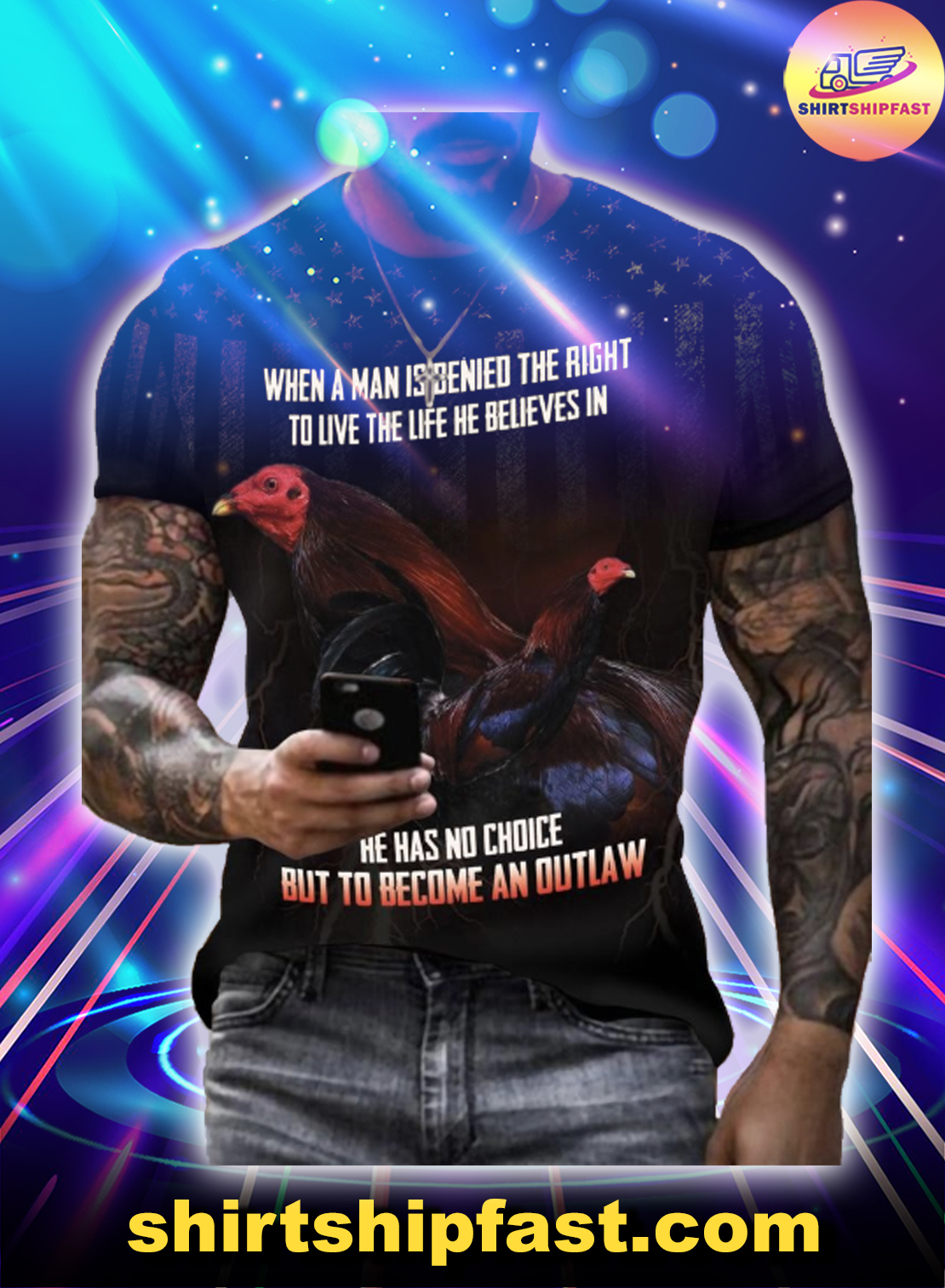 Kelso US When a man is denied the right to live the life he believes in 3d t-shirt - Picture 1