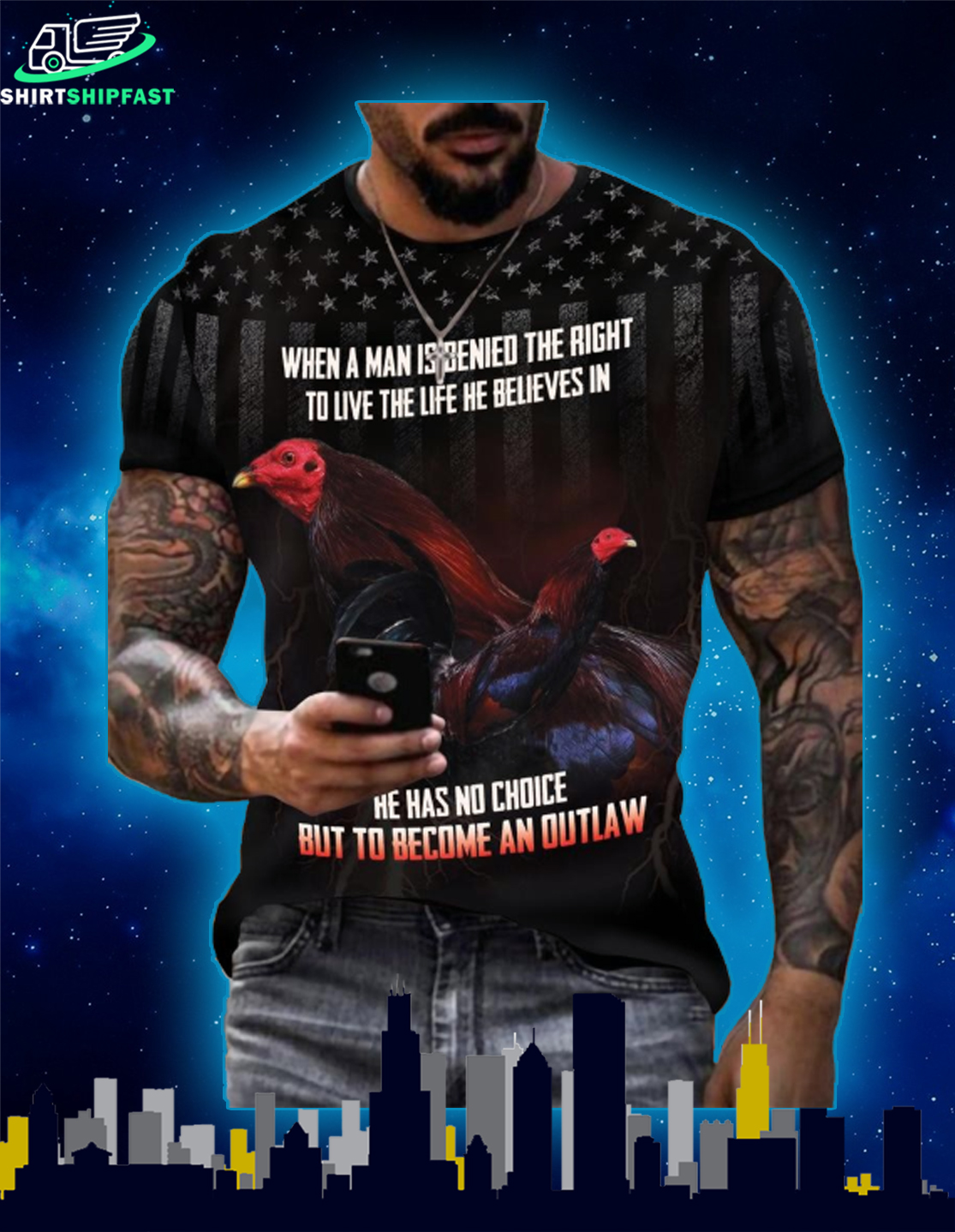 Kelso US When a man is denied the right to live the life he believes in 3d t-shirt - Picture 2