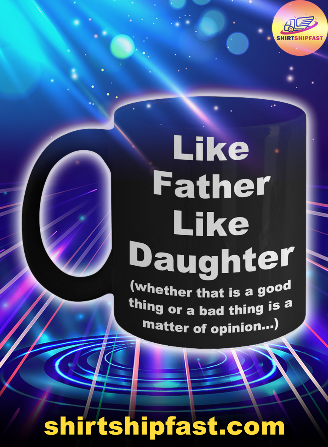 Like father like daughter father's day black mug - Picture 1