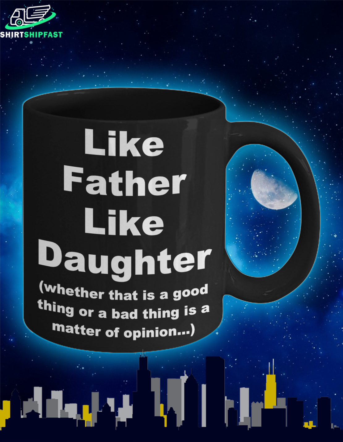 Like father like daughter father's day black mug - Picture 2