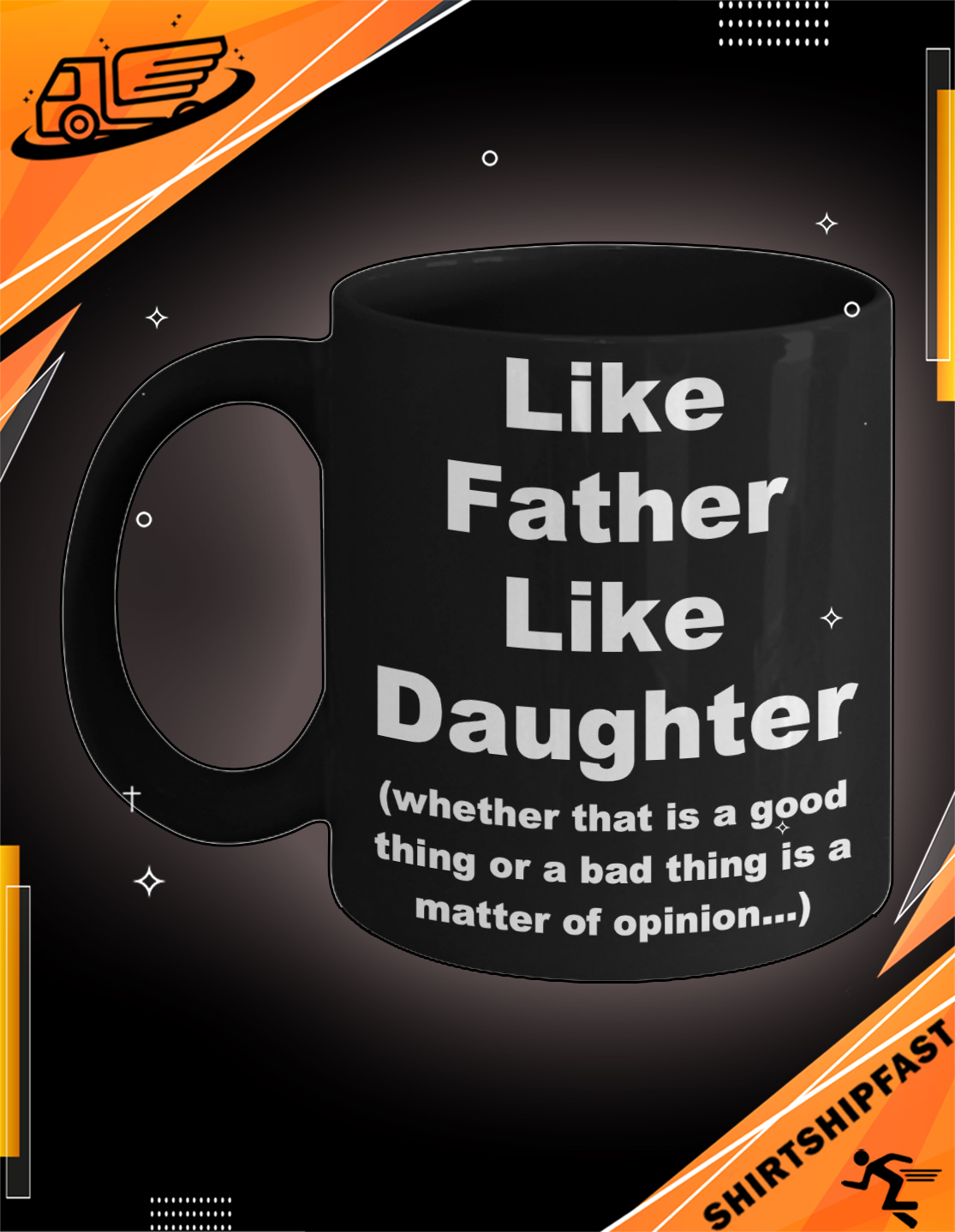 Like father like daughter father's day black mug - Picture 3