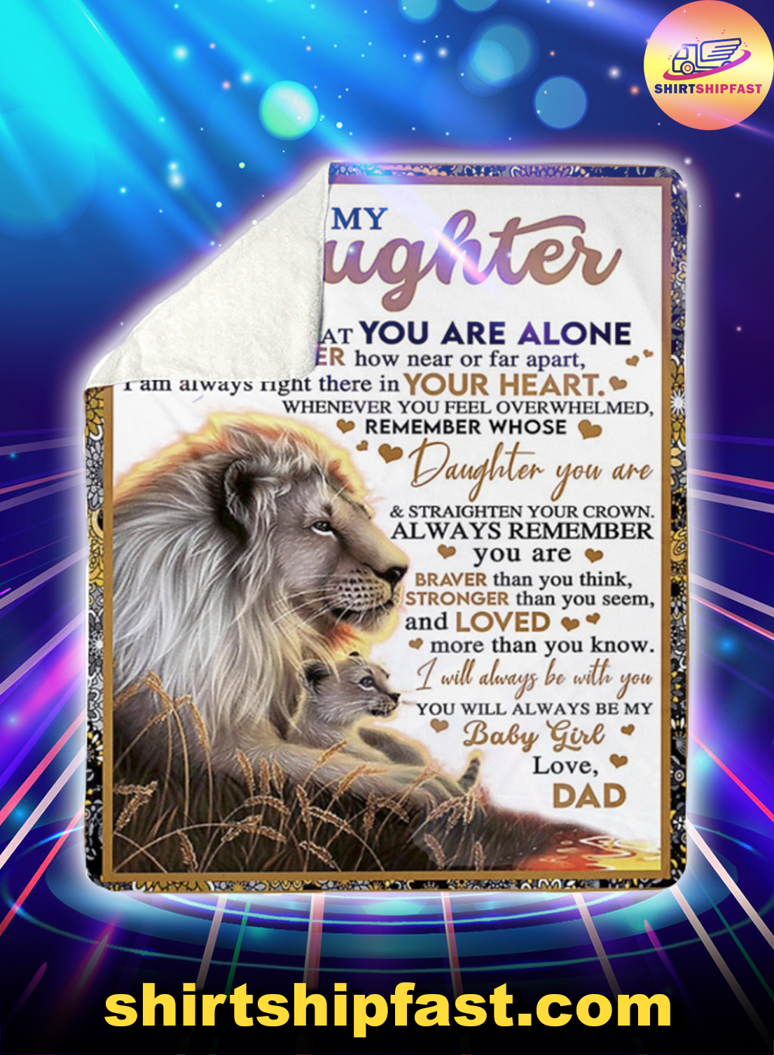 Lion Dad and daughter to my daughter never feel that you are alone blanket - Picture 1