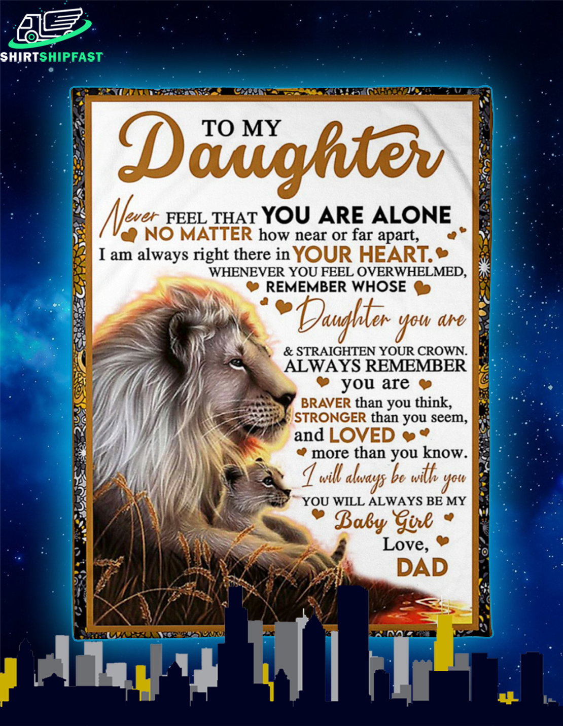 Lion Dad and daughter to my daughter never feel that you are alone blanket - Picture 2