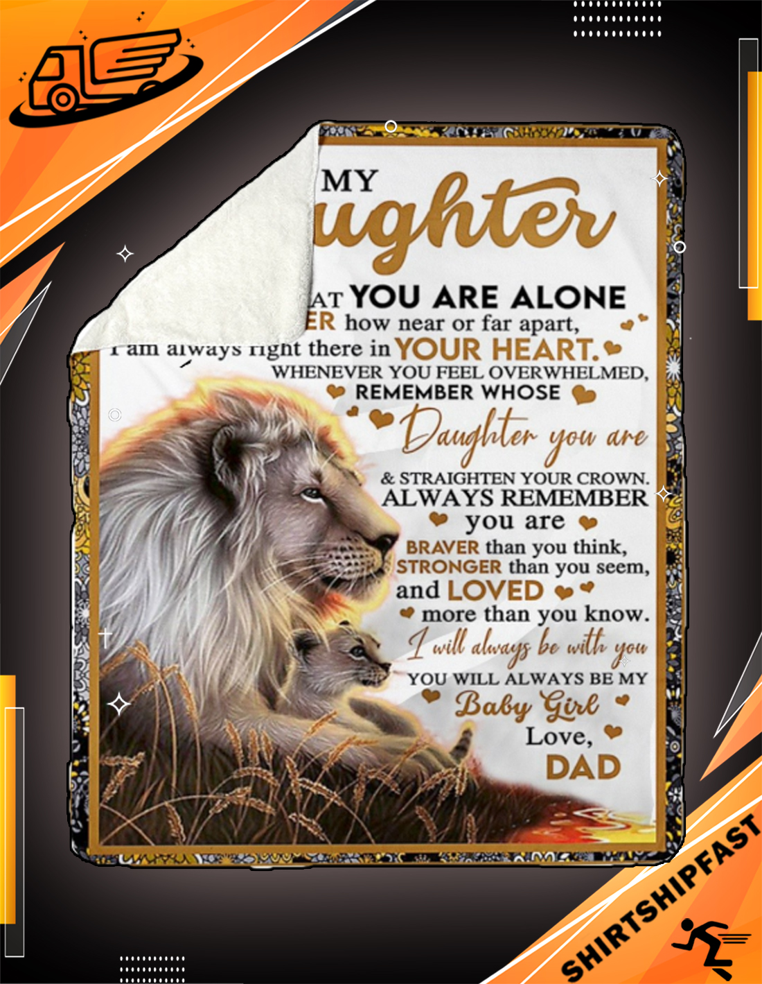 Lion Dad and daughter to my daughter never feel that you are alone blanket - Picture 3