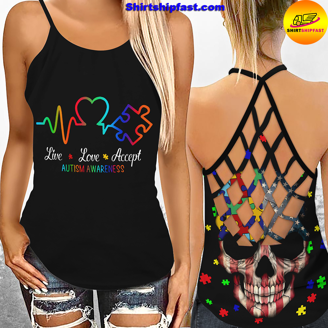 Live love accept autism awareness criss-cross open back camisole tank top and leggings
