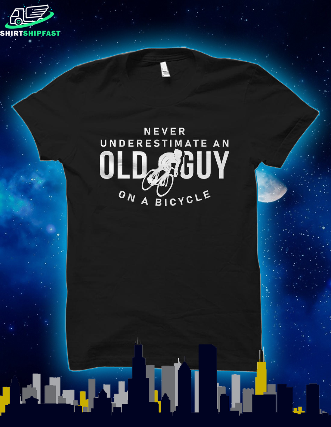 Never underestimate an old guy on a bicycle shirt - Picture 1