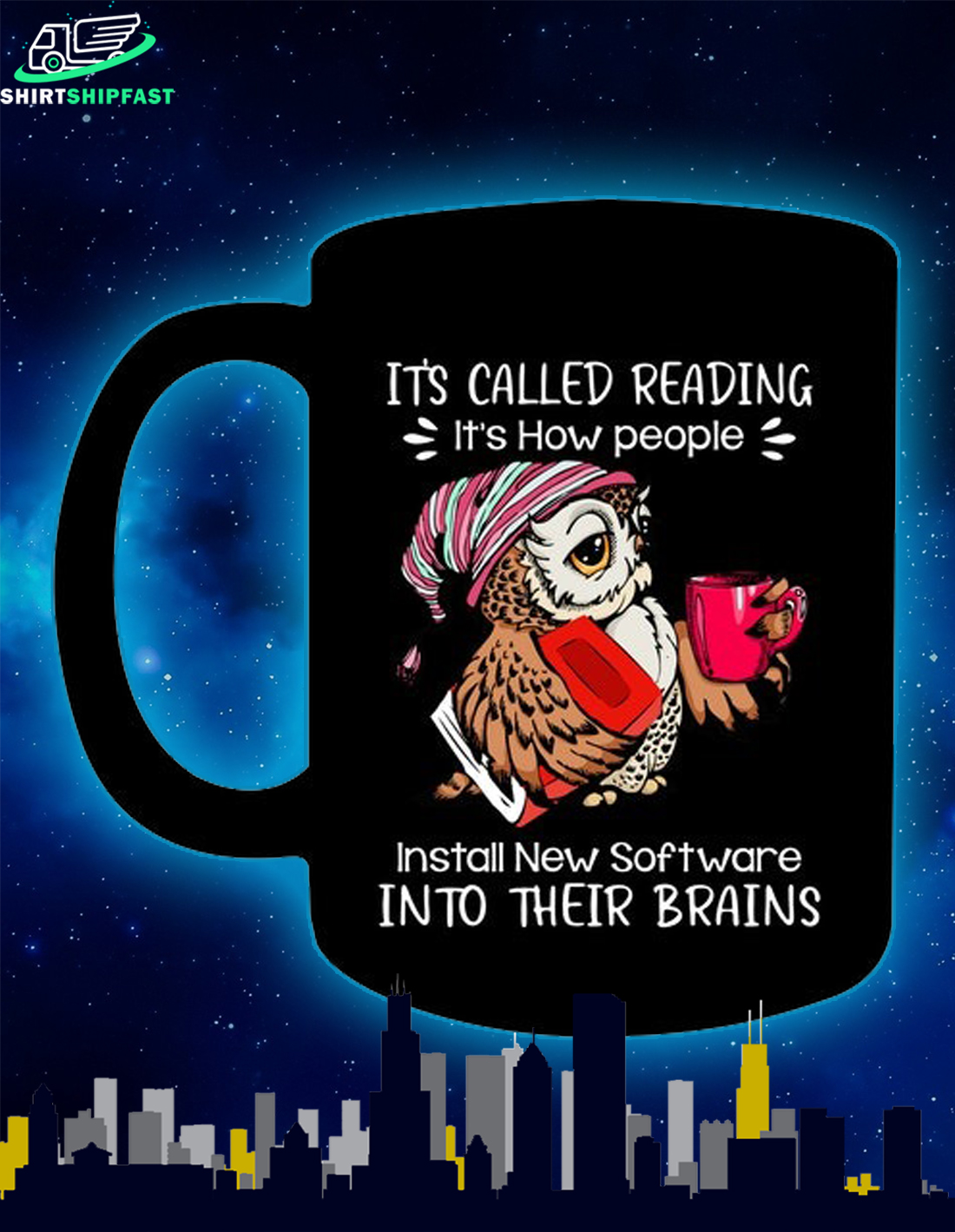 Owl It's called reading It's how people install new software into their brains mug - Picture 2