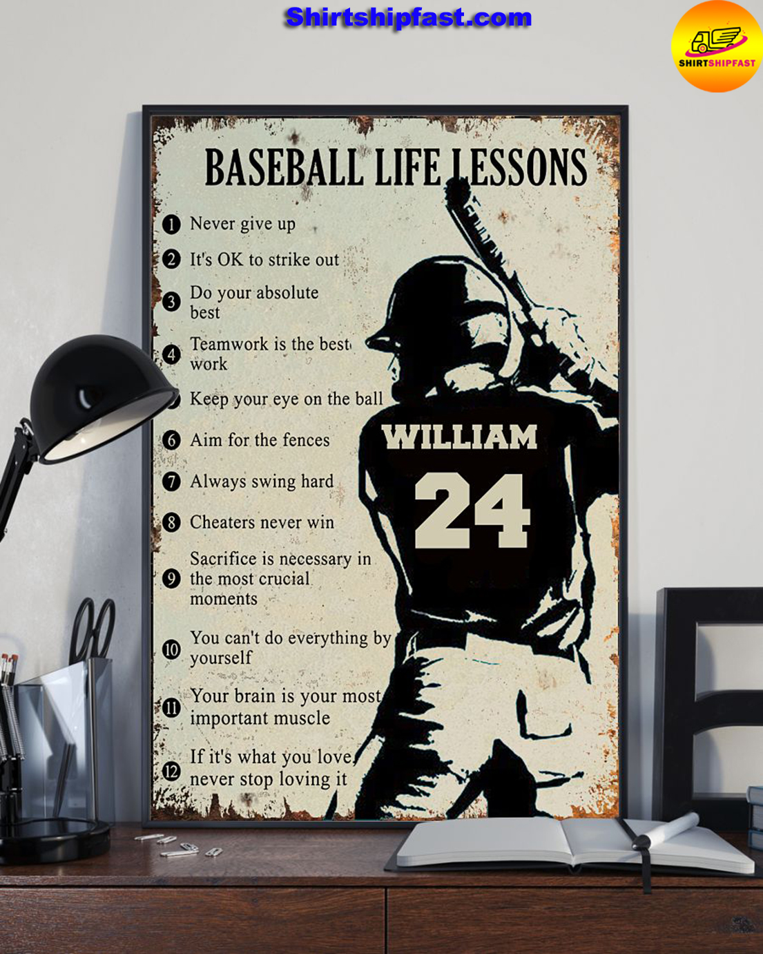 Personalize custom name number Baseball life lessons poster - Picture 1