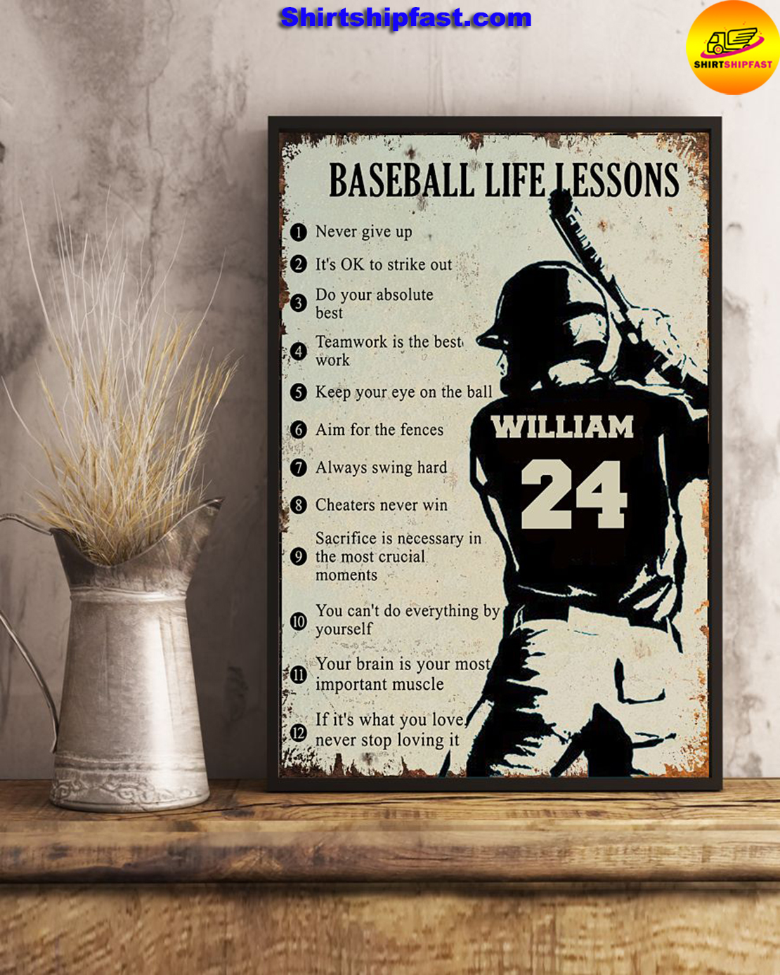 Personalize custom name number Baseball life lessons poster - Picture 2
