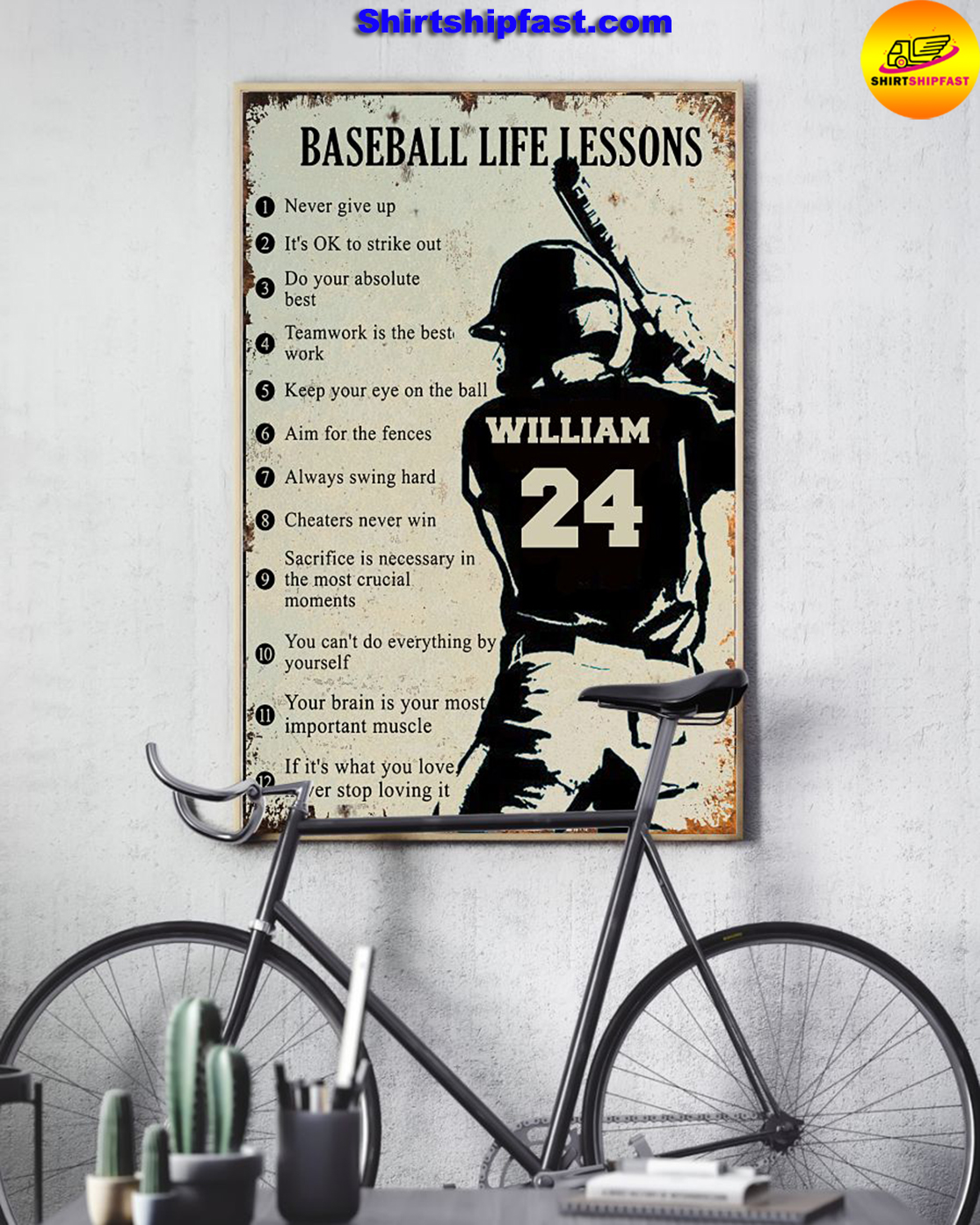 Personalize custom name number Baseball life lessons poster - Picture 3