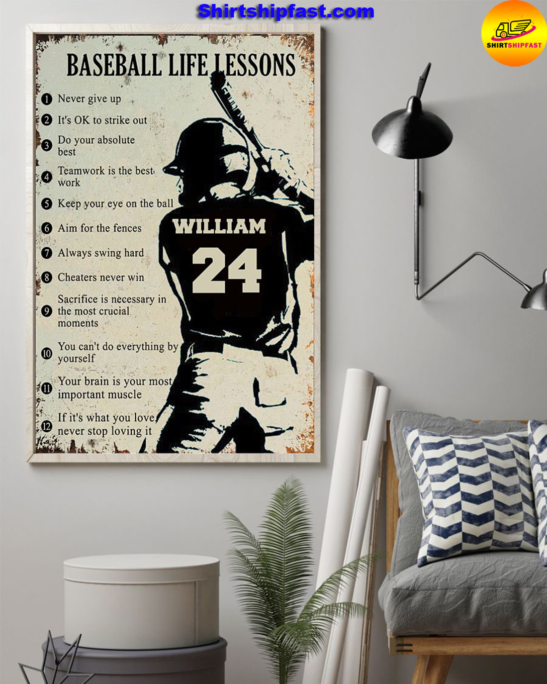 Personalize custom name number Baseball life lessons poster