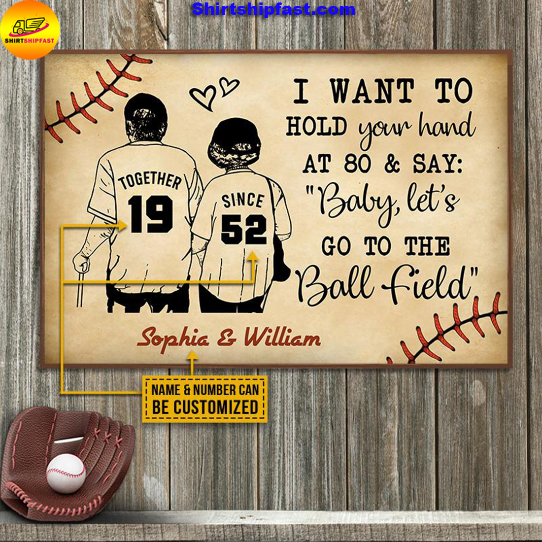 Personalized Baseball Yellow Since Together Customized Poster - Picture 1