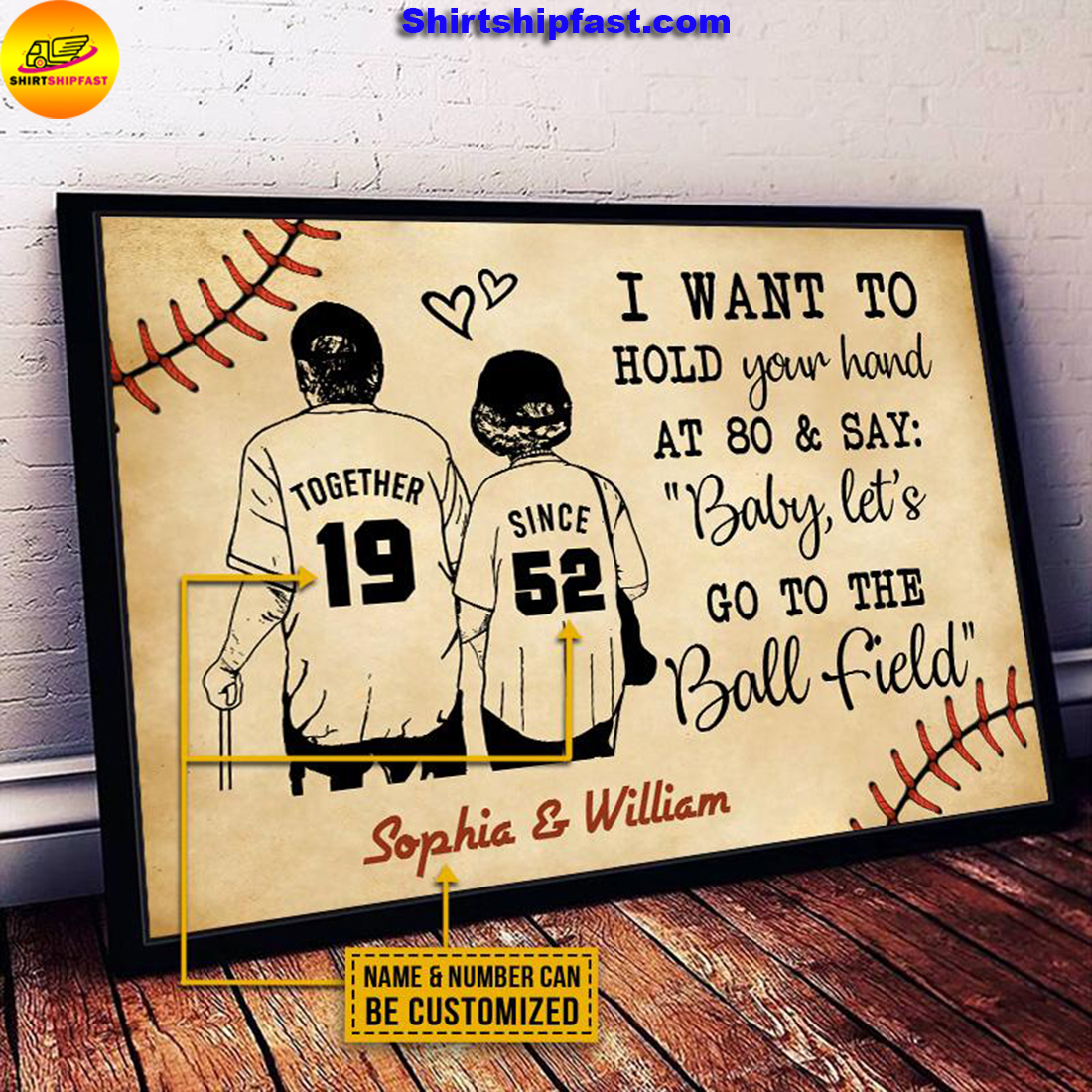 Personalized Baseball Yellow Since Together Customized Poster - Picture 3