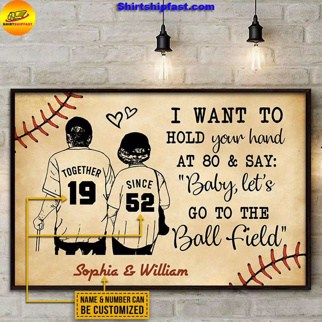 Personalized Baseball Yellow Since Together Customized Poster