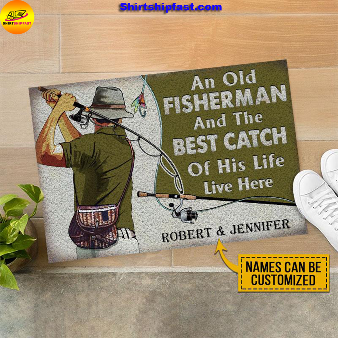Personalized Fishing Old Couple The Best Catch Live Here Customized Doormat - Picture 1