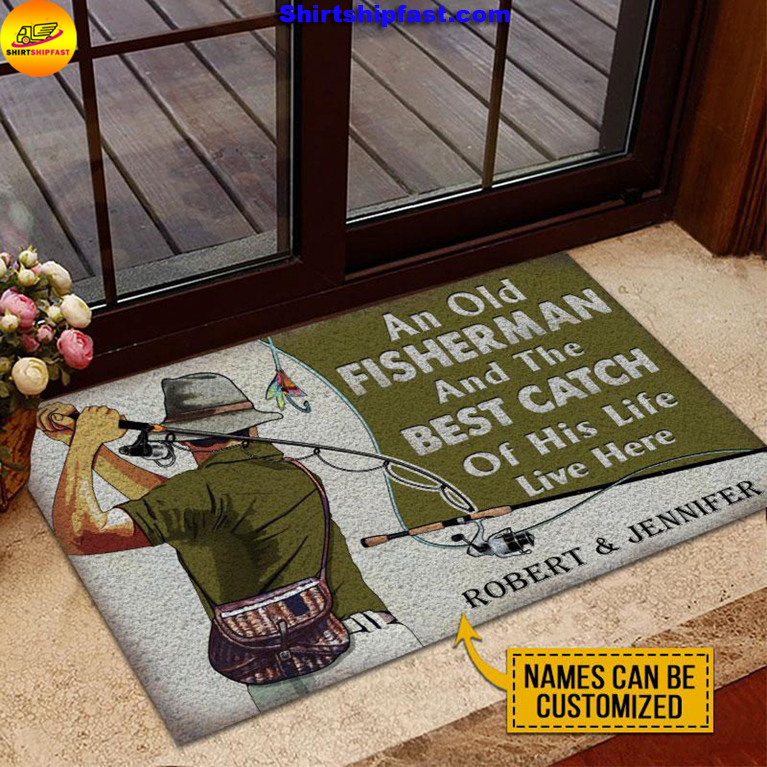 Personalized Fishing Old Couple The Best Catch Live Here Customized Doormat - Picture 2