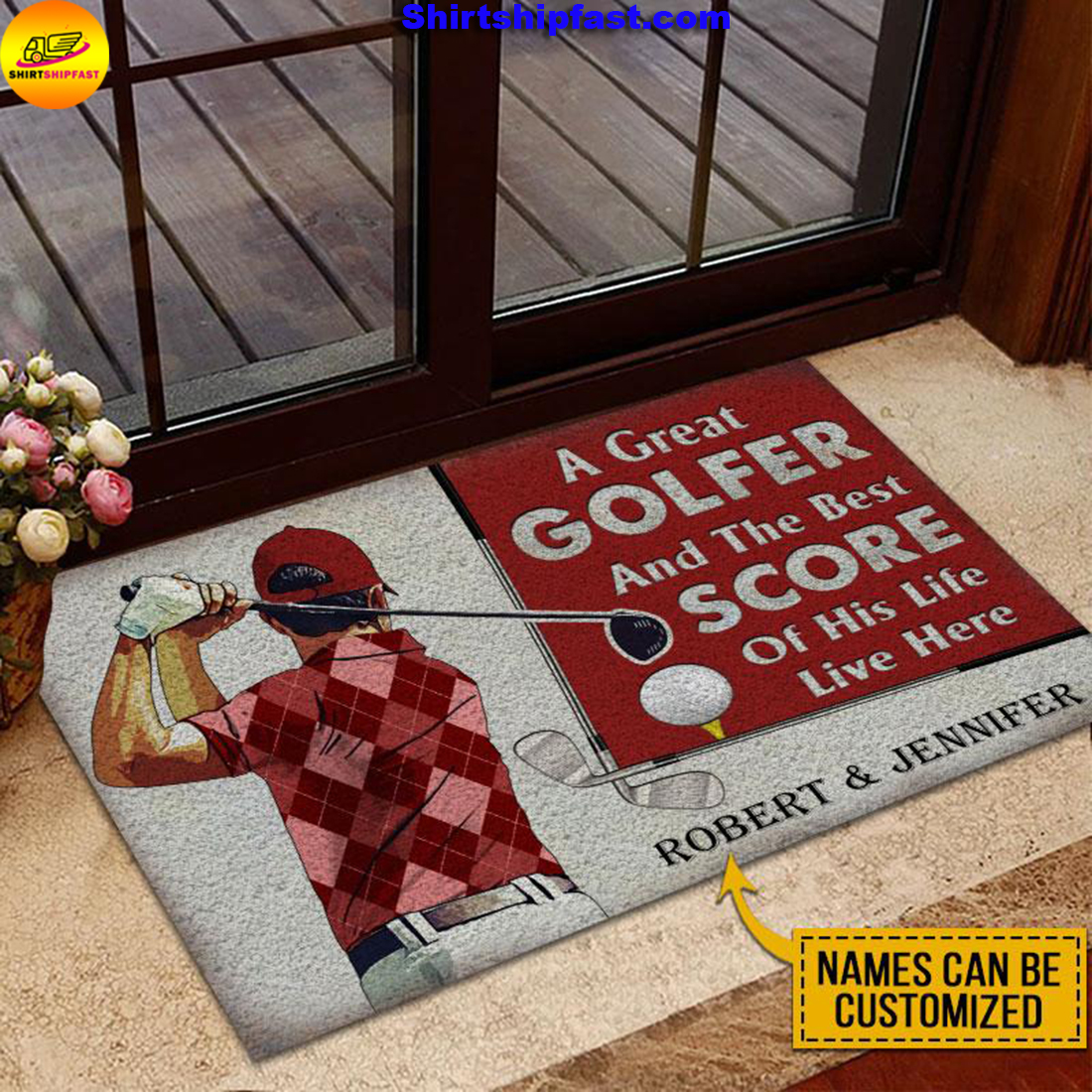 Personalized Golf Red Couple Golfer Best Score Live Customized Doormat - Picture 1