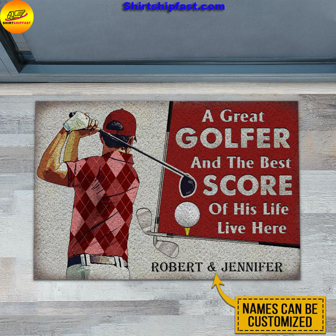 Personalized Golf Red Couple Golfer Best Score Live Customized Doormat - Picture 2