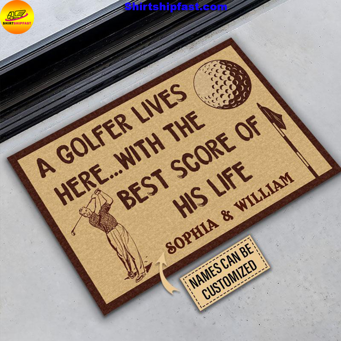 Personalized Golf The Best Score Customized Doormat - Picture 2