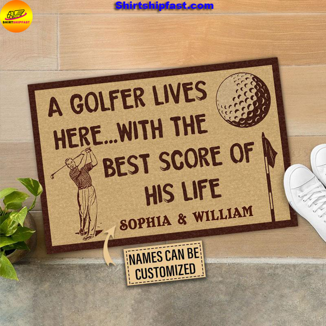 Personalized Golf The Best Score Customized Doormat - Picture 3