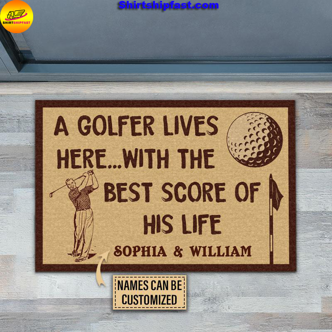Personalized Golf The Best Score Customized Doormat