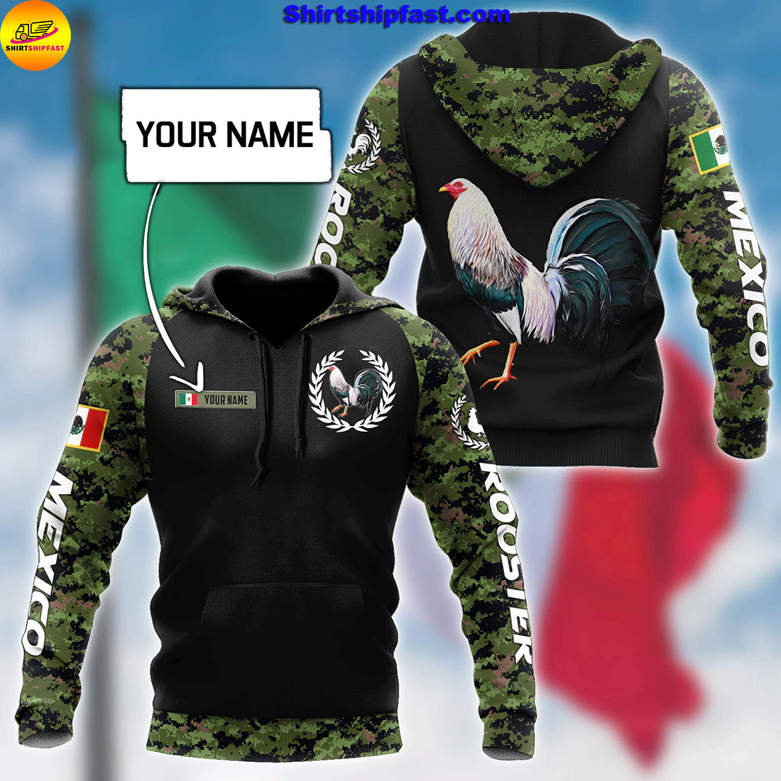 Personalized Mexican rooster camo 3d all over printed hoodie