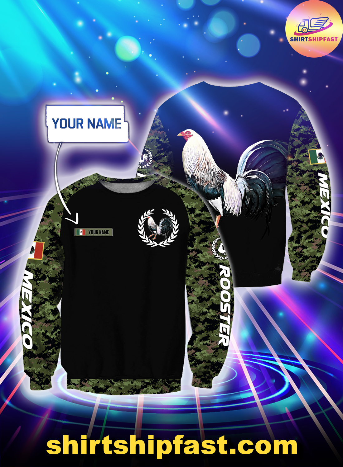 Personalized Mexican rooster camo 3d all over printed sweatshirt