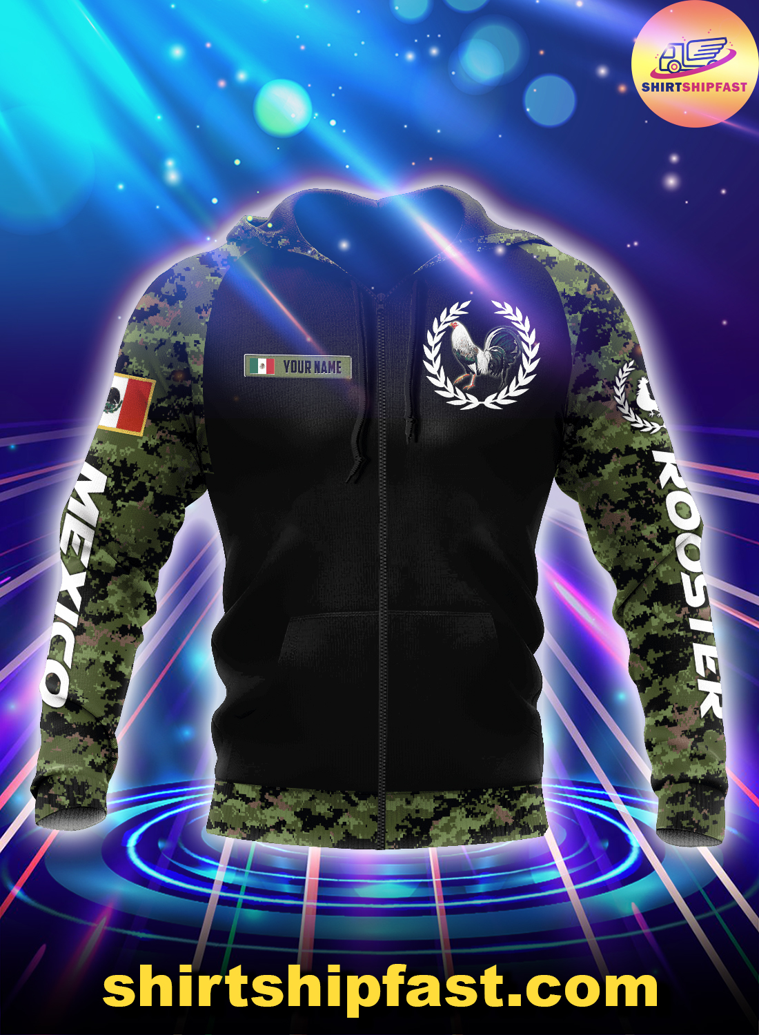 Personalized Mexican rooster camo 3d all over printed zip hoodie