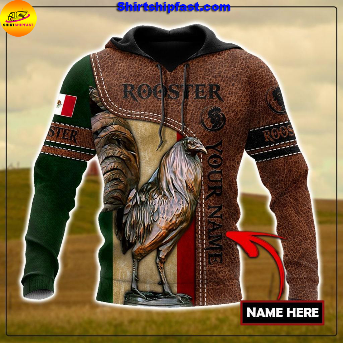 Personalized Mexican rooster leather 3d all over printed hoodie
