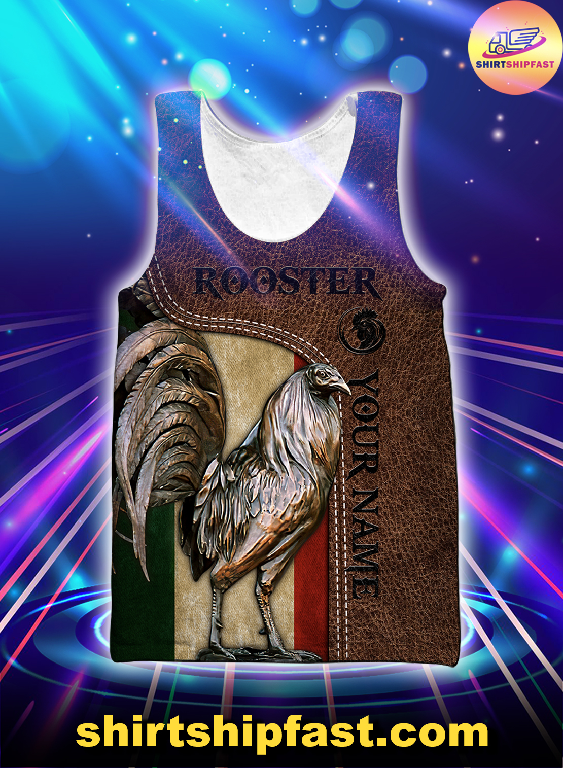 Personalized Mexican rooster leather 3d all over printed tank top