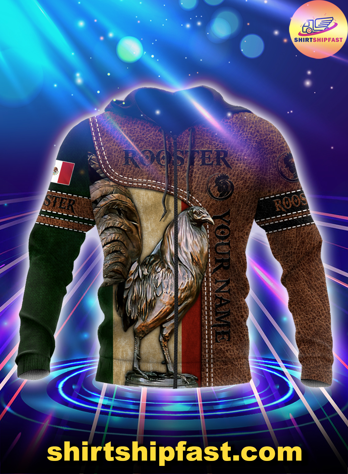Personalized Mexican rooster leather 3d all over printed zip hoodie