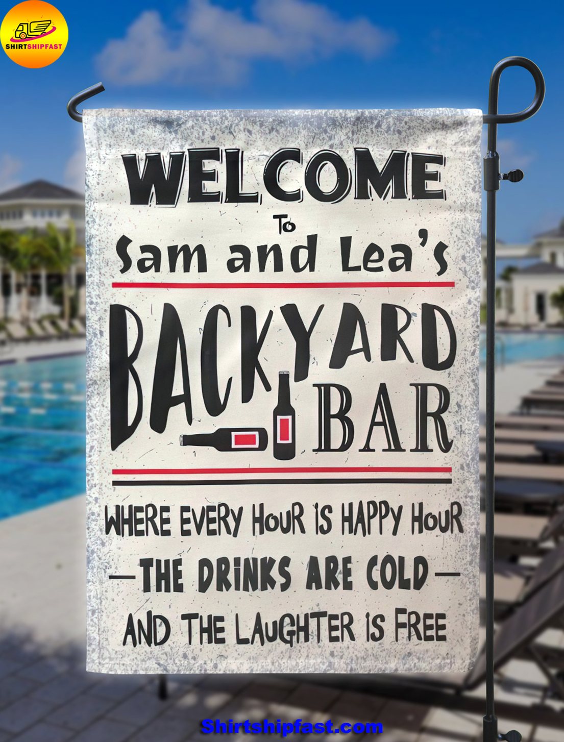 Personalized Welcome to backyard bar flag - Picture 1