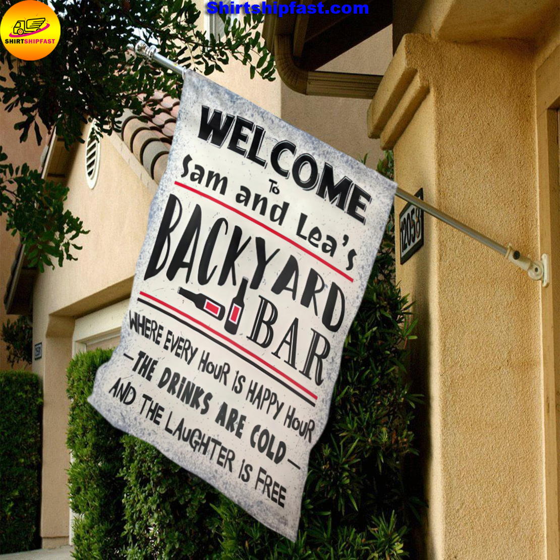 Personalized Welcome to backyard bar flag - Picture 2