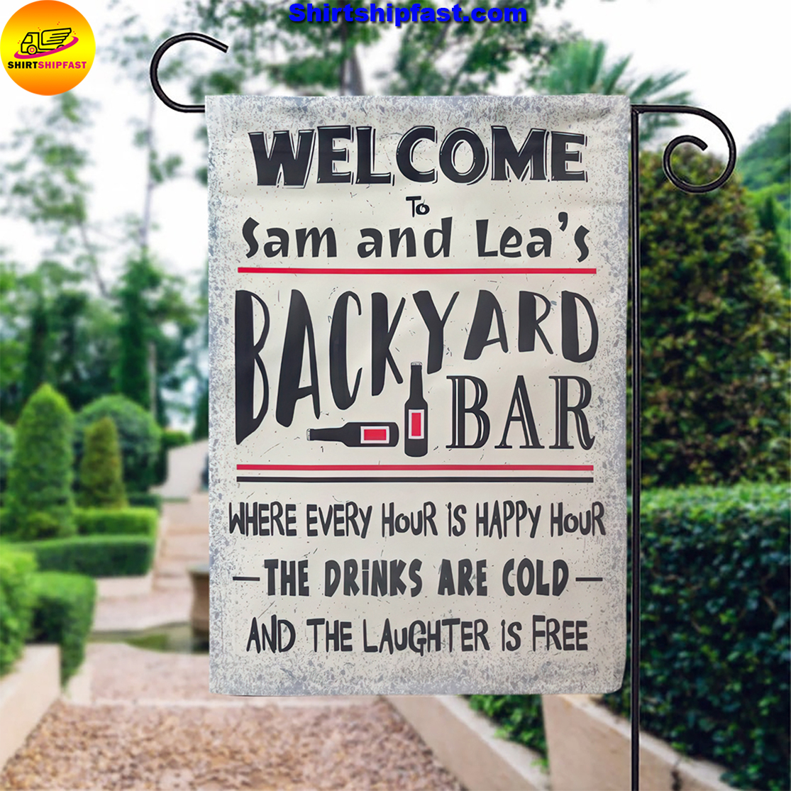 Personalized Welcome to backyard bar flag - Picture 3
