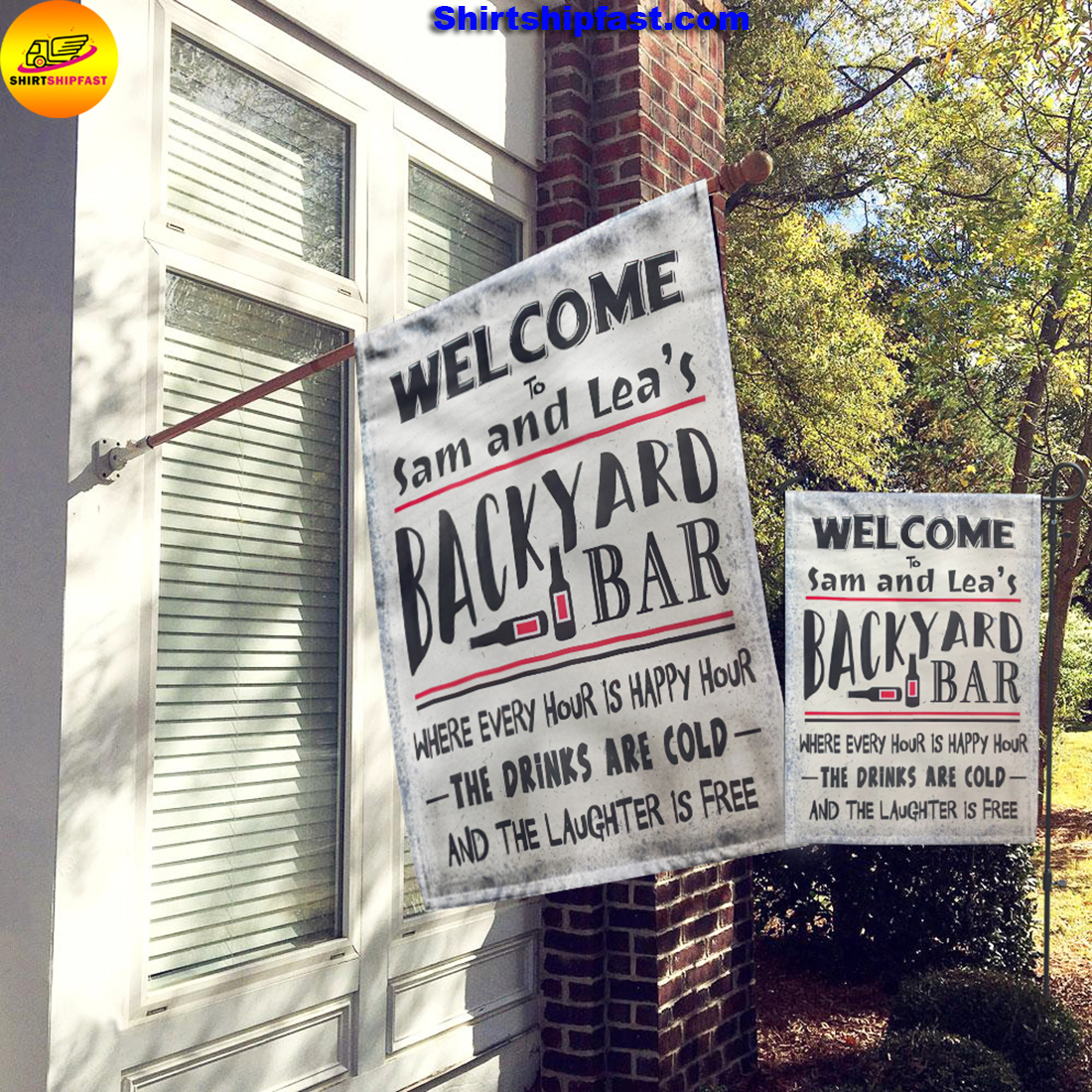 Personalized Welcome to backyard bar flag