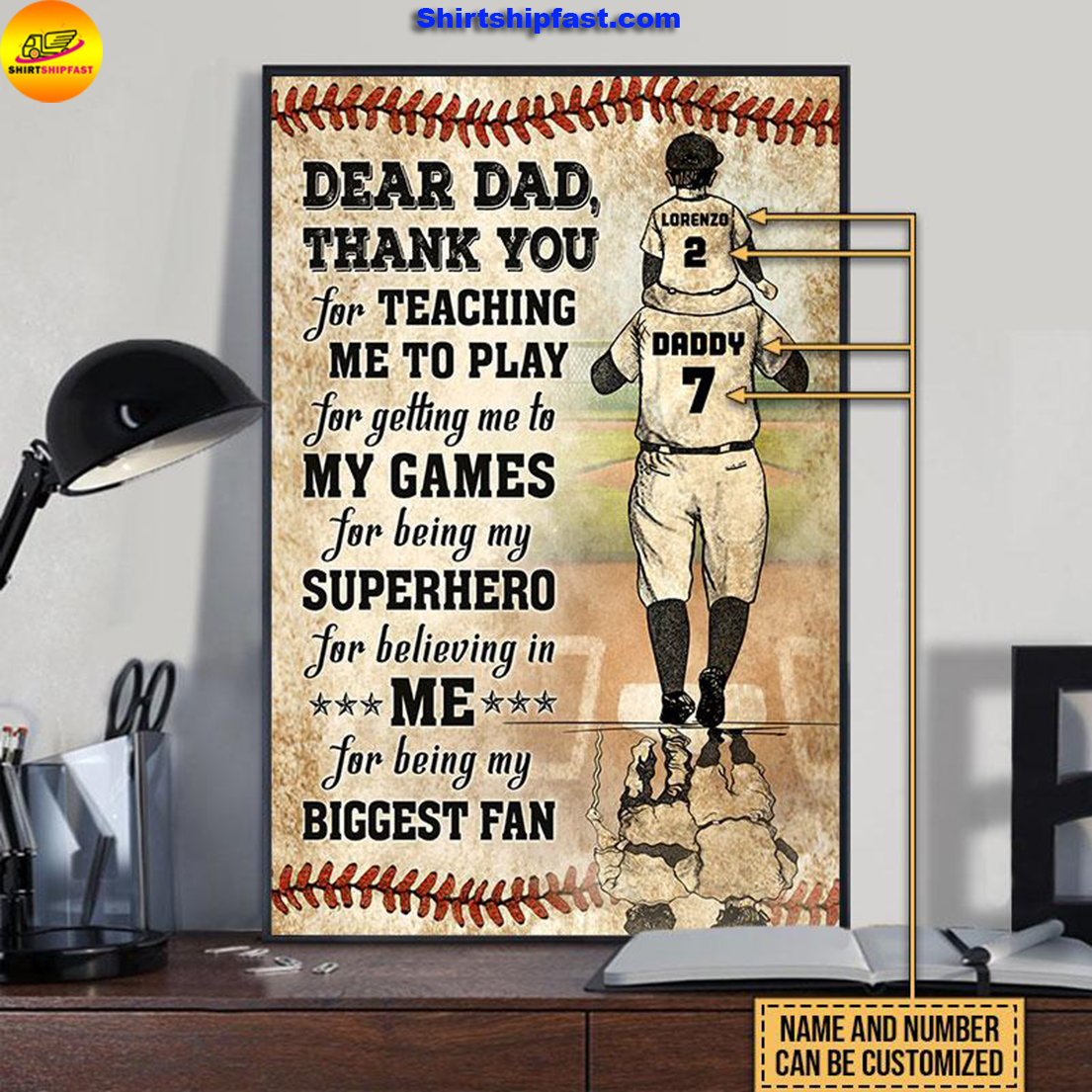 Personalized baseball dad and son thank you customized poster - Picture 1
