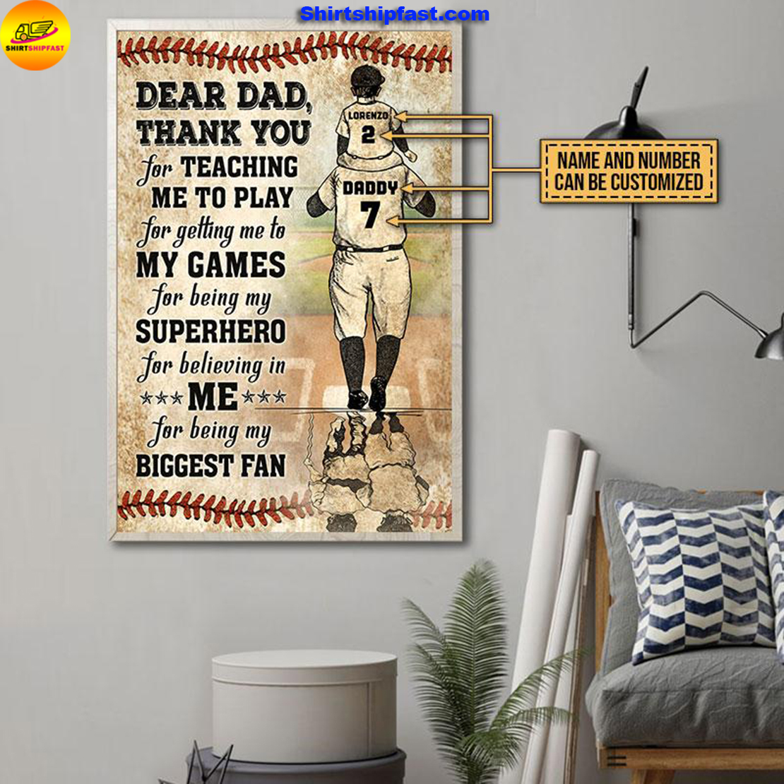 Personalized baseball dad and son thank you customized poster - Picture 2